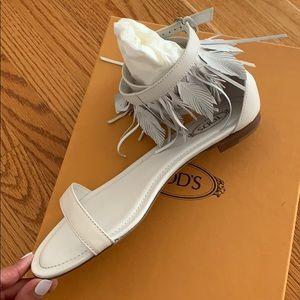 TOD'S White Leather Fringe sandals